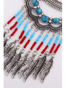 Turquoise Leaves Shape Pendant Necklace And Earrings - SILVER