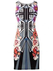 Geometric And Flower Print Bodycon Club Dress - Black S