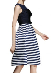 Stripe Spliced A Line Midi Sundress