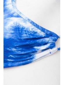 Blue Print Tie-Up Bikini Set - BLUE M