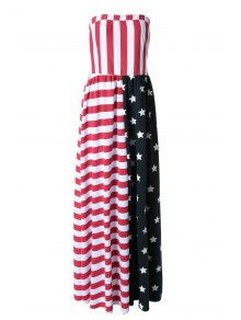 American Flag Print Strapless Maxi Dress