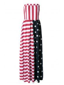 American Flag Print Strapless Maxi Dress