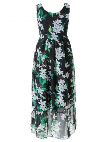 Floral Self-Tie V-Neck Maxi Dress