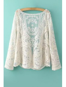 See-Through Leaves Pattern Long Sleeve Blouse - OFF WHITE ONE SIZE(FIT SIZE XS TO M)