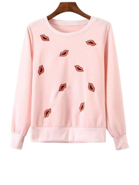 women's Lip Pattern Embroidery Long Sleeve Sweatshirt - PINK S
