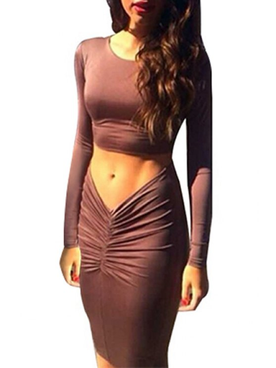 best Long Sleeve Brown Crop Top + Ruched Bodycon Skirt Twinset - BROWN S