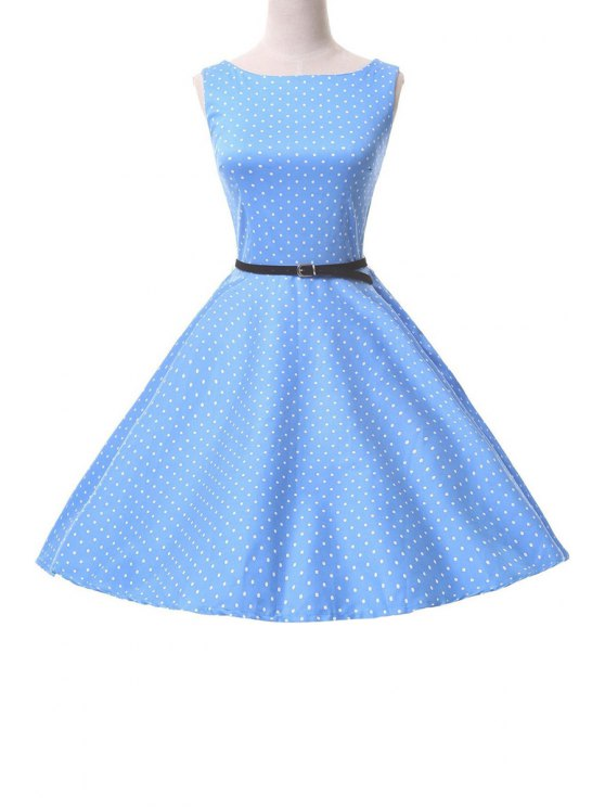 shops Polka Dot Mid-Calf Ball Gown Dress - BLUE S