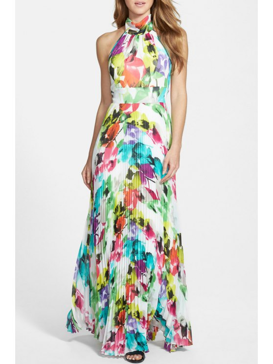 affordable Floral Print Open Back Colorful Pleated Maxi Dress - WHITE S