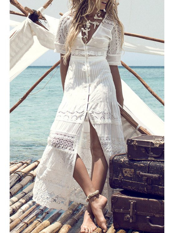 buy Lace Spliced Openwork Front Slit White Maxi Dress - WHITE S