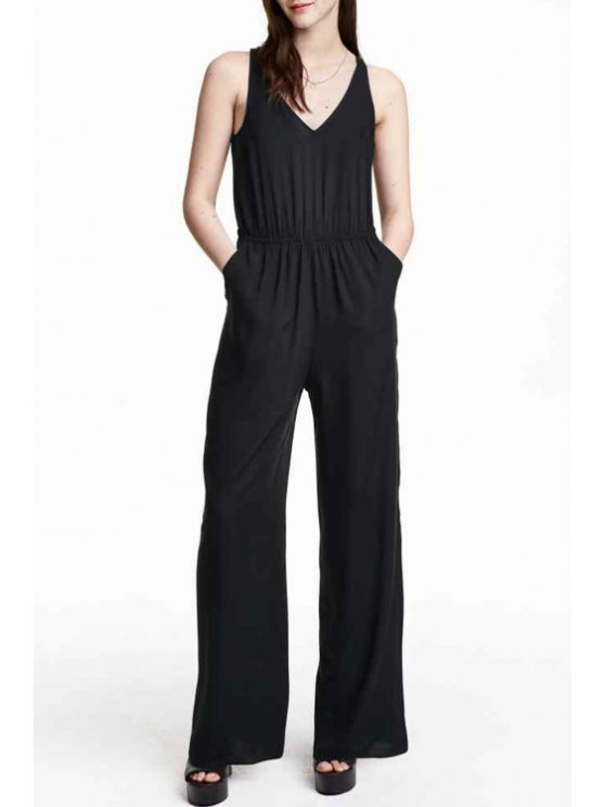 best Sleeveless Jumpsuit - BLACK L