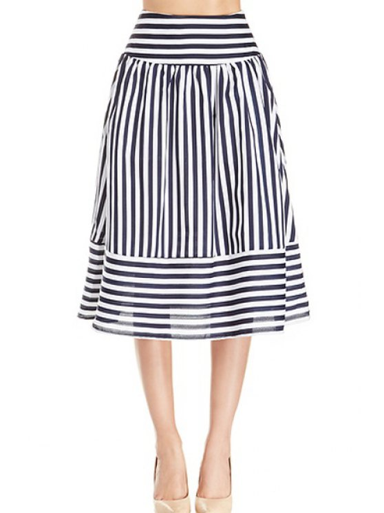 lady Stripe Panel Skirt - WHITE AND BLACK S