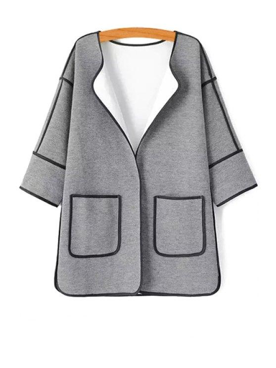 women's 3/4 Sleeve Color Block Cardigan - GRAY S