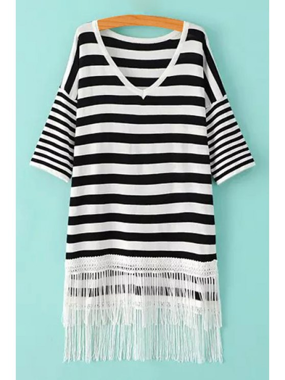 trendy Striped V Neck 3/4 Sleeve Knitwear - WHITE AND BLACK ONE SIZE(FIT SIZE XS TO M)