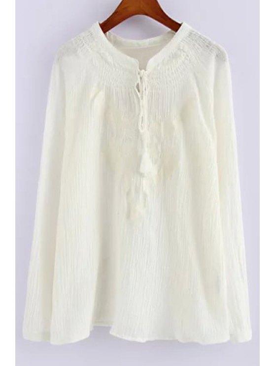 womens Pure Color Long Sleeve Linen Shirt - WHITE S