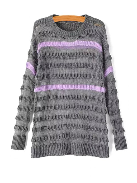 unique Striped Color Block Long Sleeve Sweater - GRAY ONE SIZE(FIT SIZE XS TO M)