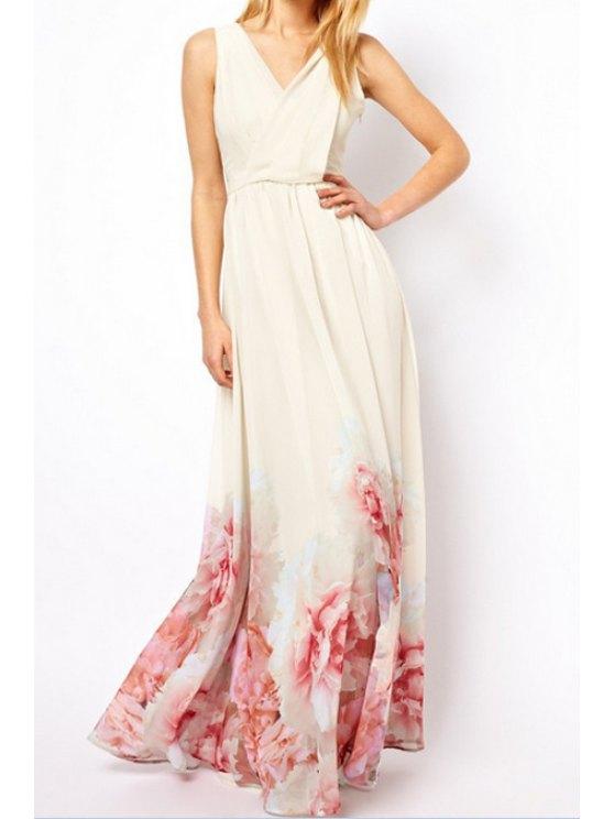 fancy Flower Print Off-White Maxi Dress - OFF-WHITE S