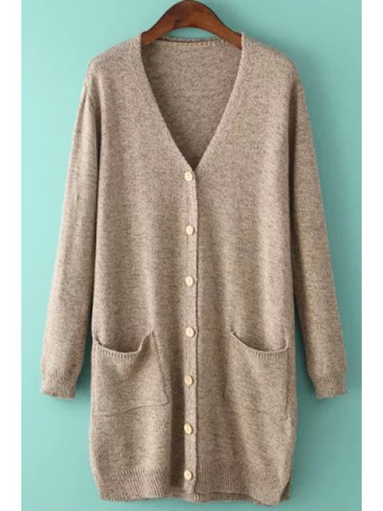 ladies Single-Breasted Pocket Long Sleeve Cardigan - KHAKI ONE SIZE(FIT SIZE XS TO M)