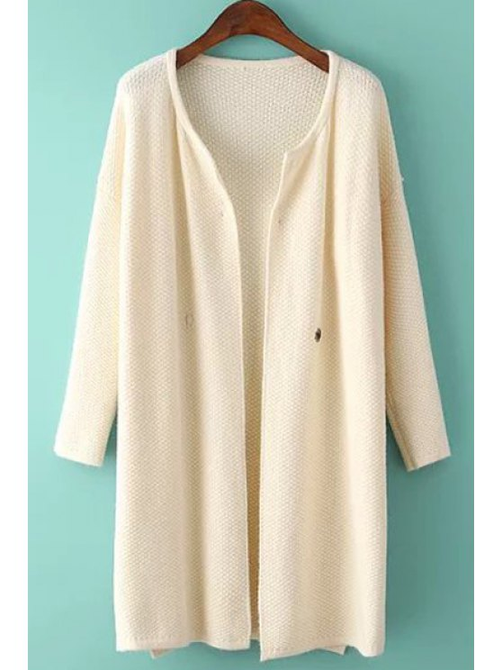womens Jewel Neck Solid Color Slit Cardigan - OFF-WHITE ONE SIZE(FIT SIZE XS TO M)