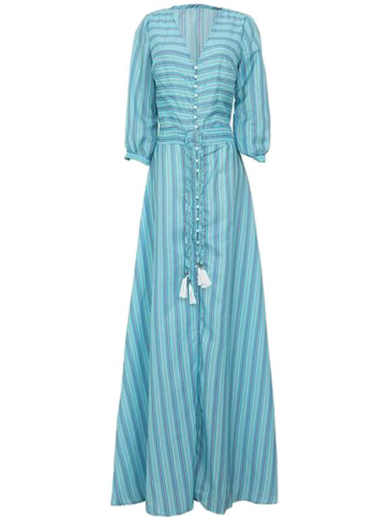 women Striped Single-Breasted Drawstring Maxi Dress - AZURE S