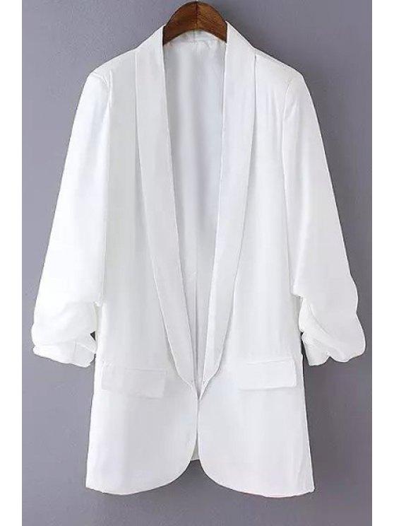 womens Pure Color Shawl Collar Long Sleeve Blazer - WHITE S