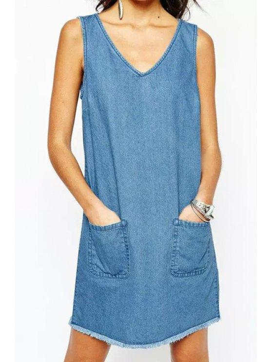 outfit Bleach Wash Pocket Denim Sleeveless Dress - LIGHT BLUE S
