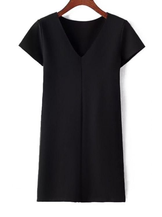 fancy Pure Color Plunging Neck Short Sleeve Dress - BLACK S