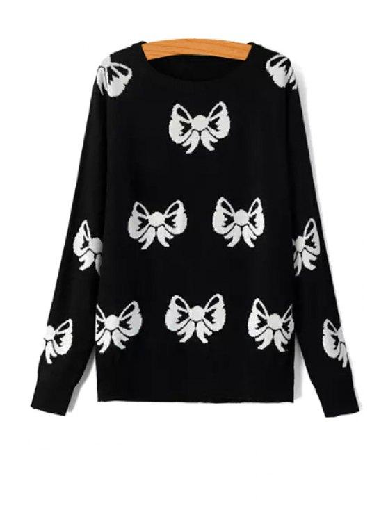 latest Bowknot Pattern Long Sleeve Sweater - BLACK S