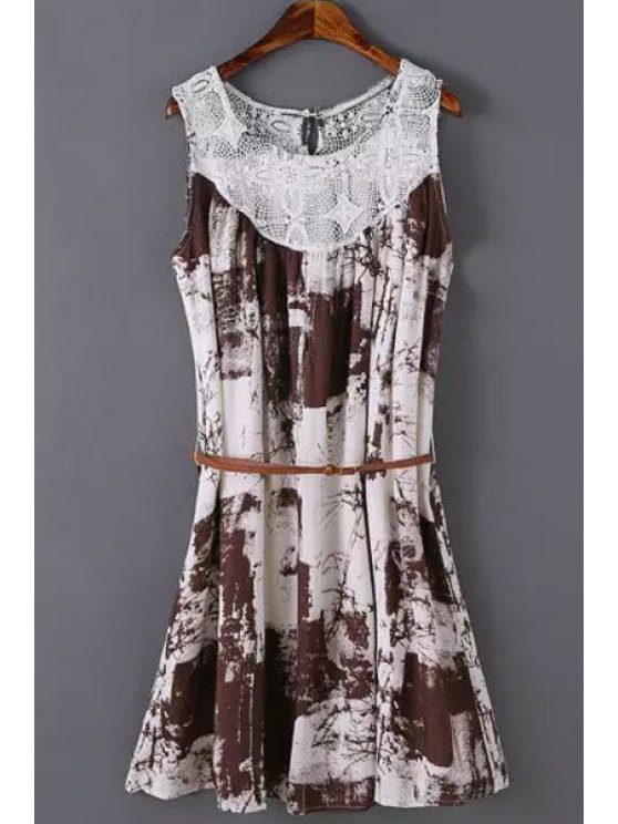 lady Lace Splicing Printed Sleeveless Dress - COFFEE L