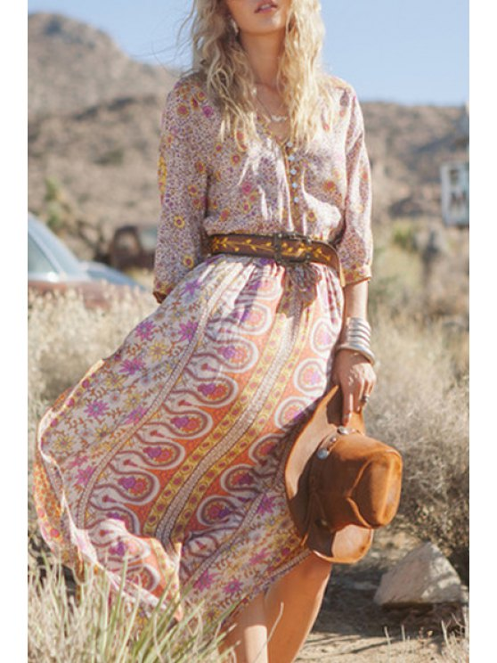 fancy Full Floral Print High Slit Maxi Dress - YELLOW S