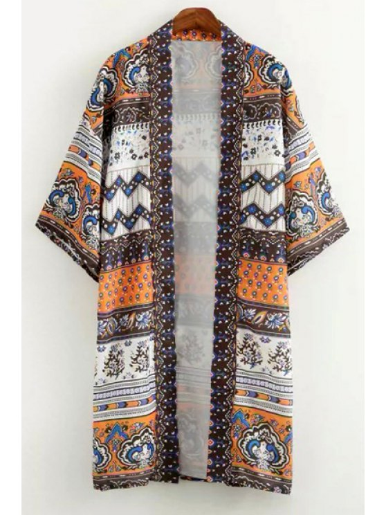 shop Vintage Print 3/4 Sleeve Kimono - AS THE PICTURE S
