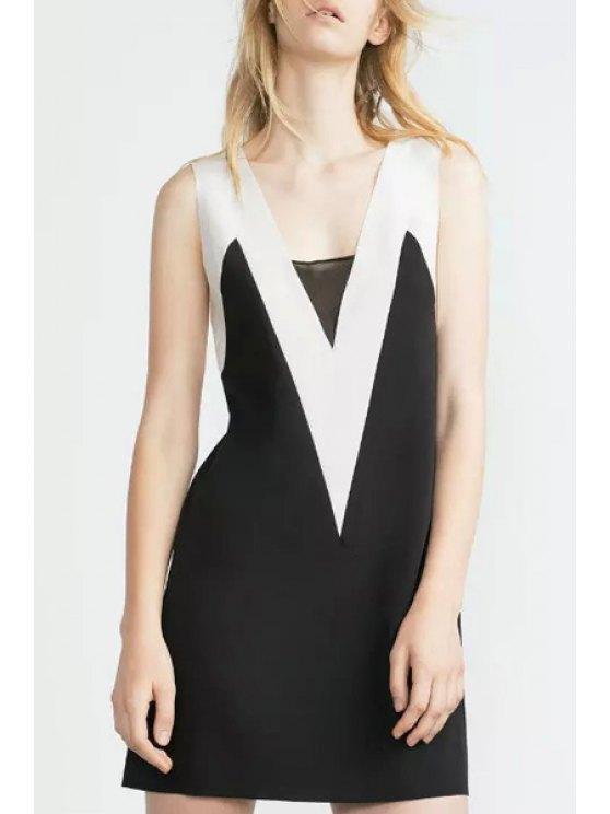 women White Black Splicing Backless Sleeveless Dress - BLACK S
