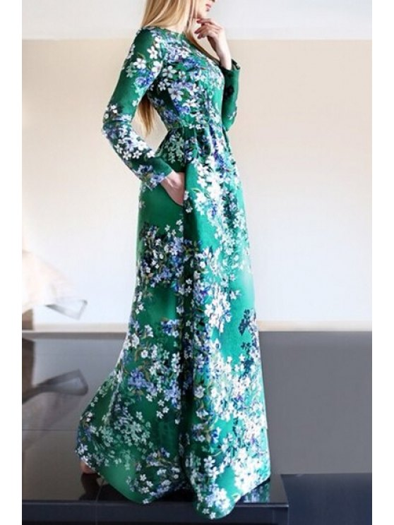 hot Floral Print Pocket Design Fit and Flare Maxi Dress - GREEN XL