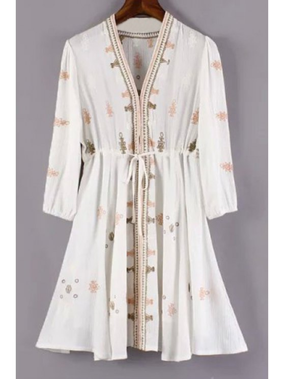 latest Embroidery Plunging Neck 3/4 Sleeve Dress - WHITE S