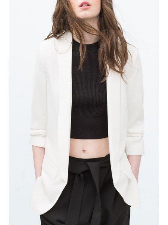 trendy Shawl Collar Solid Color Ruffle 3/4 Sleeve Blazer - WHITE S