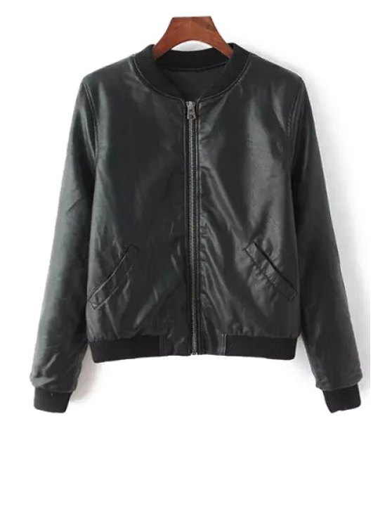 women's Solid Color Faux Leather Long Sleeve Jacket - BLACK S