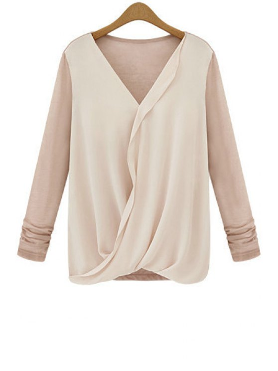 best Chiffon Spliced Ruched Loose-Fitting T-Shirt - PINK XL