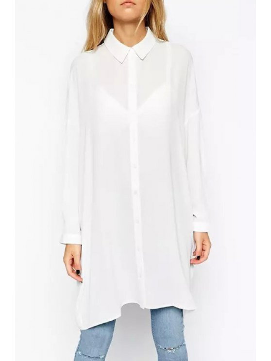 outfits Chiffon Solid Color Long Sleeve Shir - WHITE S