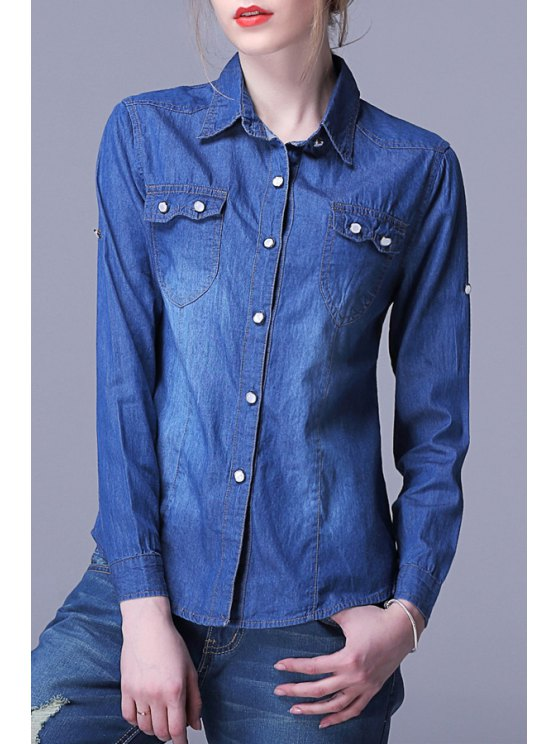 hot Single-Breasted Pocket Design Denim Shirt - DEEP BLUE M