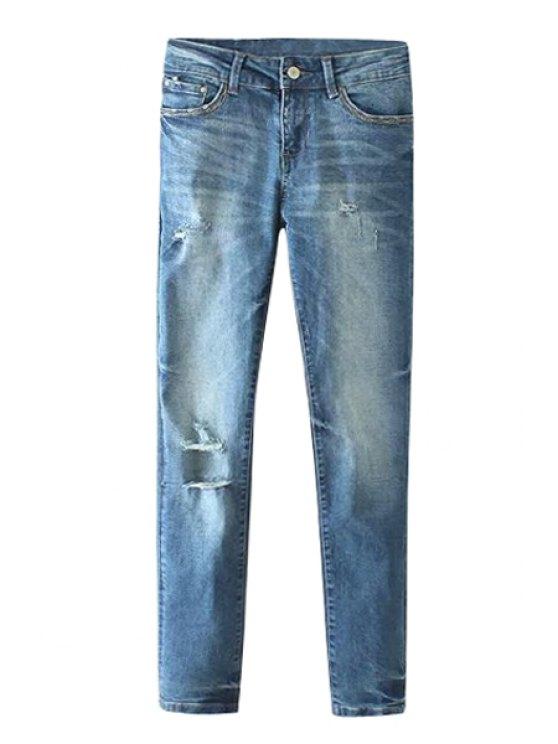 sale Hole Bleach Wash  Zipper Fly Jeans - DEEP BLUE XS