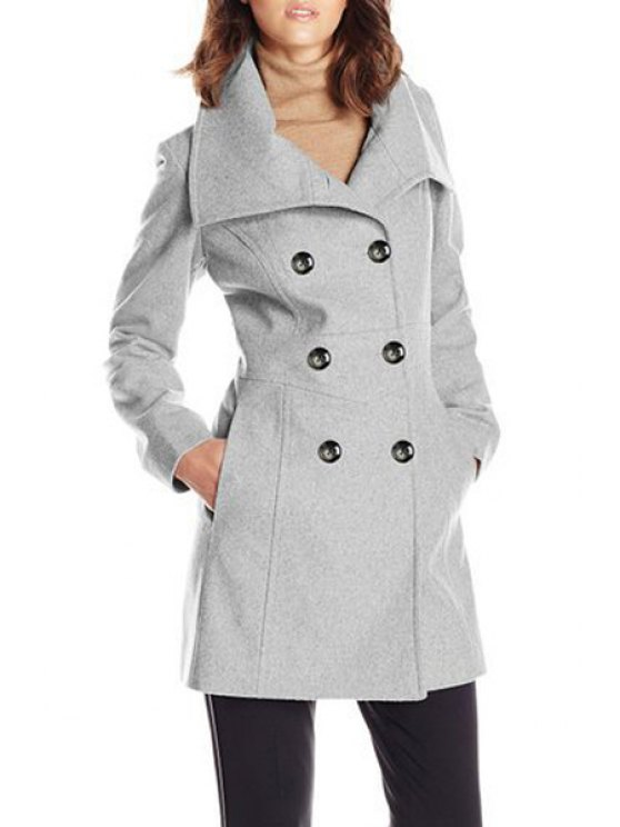 outfits Woolen Turn Down Collar Long Sleeve Coat - GRAY S