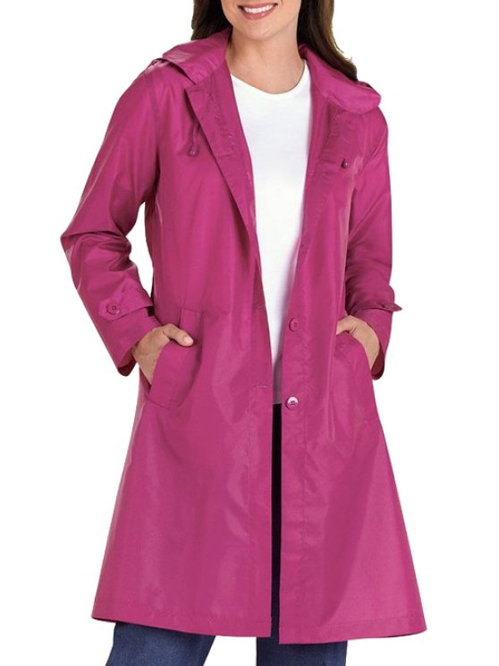 ladies Pure Color Hooded Long Sleeve Trench - PURPLE S