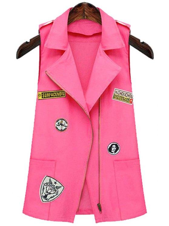 fashion Epaulet Embellished Appliqued Pink Waistcoat - PINK S