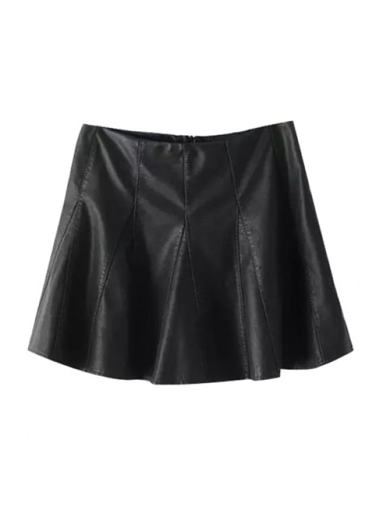 ladies Faux Leather A Line Zipper Fly Skirt - BLACK S