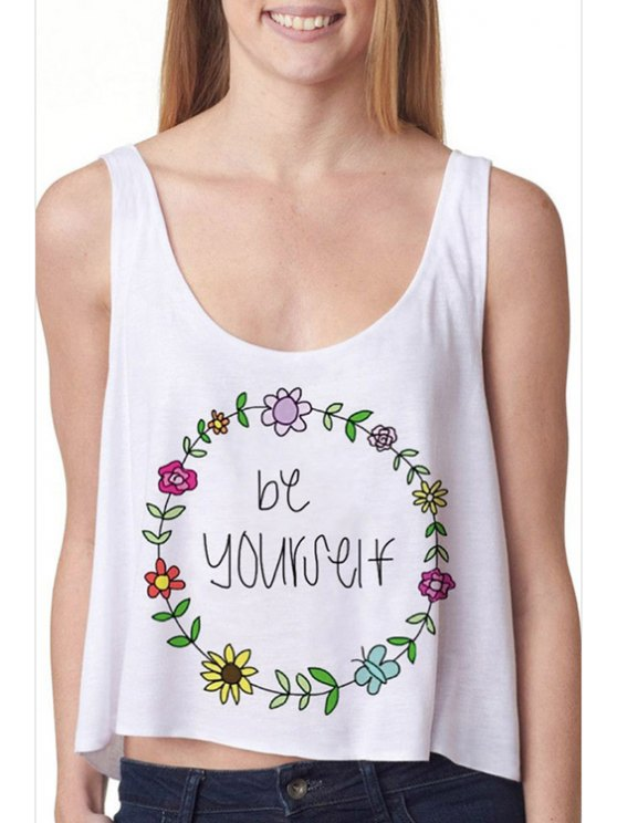 shops Floral Print Letter Pattern High-Low Hem White Tank Top - WHITE ONE SIZE(FIT SIZE XS TO M)