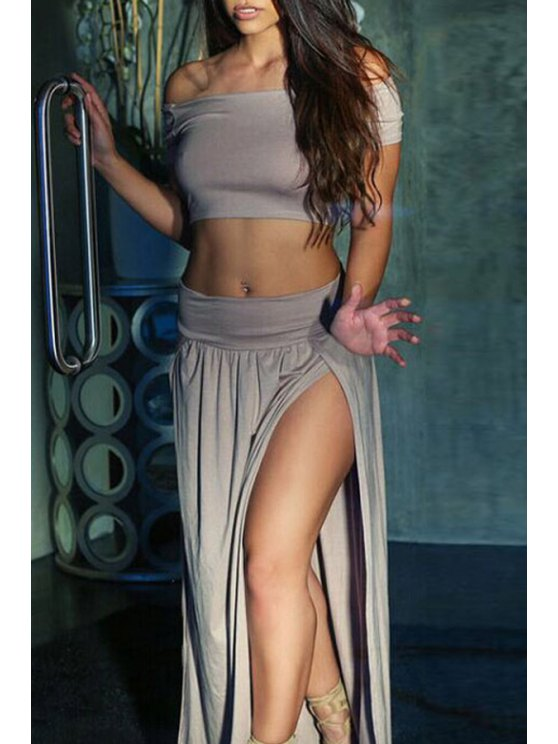 shops Slash Neck Fitted Crop Top + High-Waisted Slit Skirt Twinset - DEEP GRAY ONE SIZE(FIT SIZE XS TO M)
