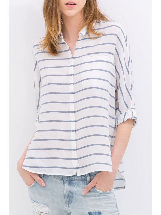 online Turn-Down Collar Striped High Low Shirt - BLUE AND WHITE S