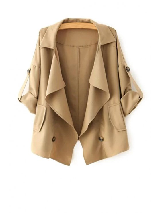 outfit Golilla Solid Color Buttons Long Sleeve Trench Coat - KHAKI L
