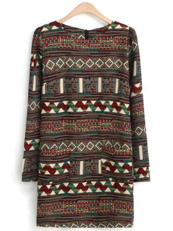 new Argyle Pattern Zig Zag Long Sleeve Dress - COLORMIX S