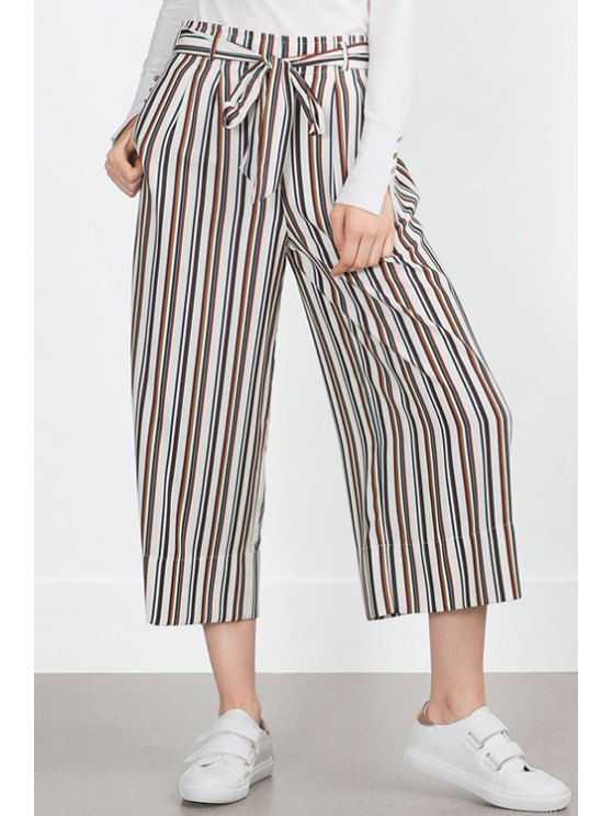 shop Stripe Tie-Up Elastic Waist Pants - AS THE PICTURE XS