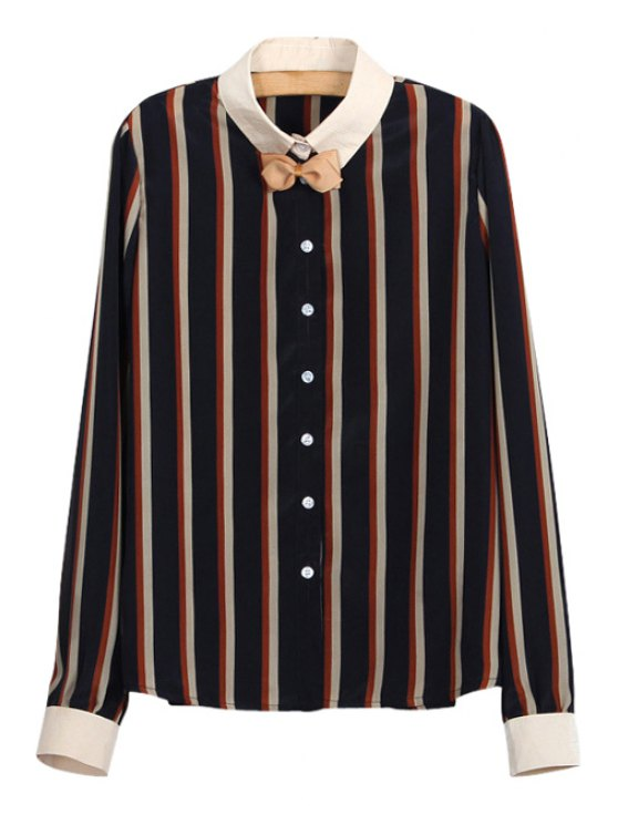 women Turn-Down Collar Stripe Bowknot Long Sleeve Shirt - COLORMIX S